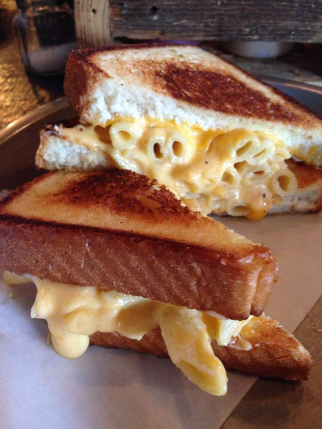 The Mac Melt is a grilled cheese with mac and cheese.